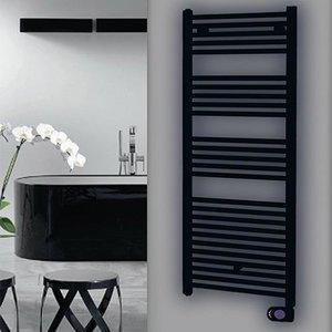 Masterwatt Calor black badkamerradiator mat zwart 50cm breed x 90cm hoog en 500 Watt